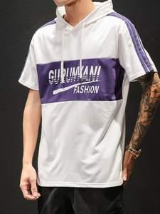 Hoodie Short-Sleeve T-Shirt Summer Casual Tee Tops Spring Slim-Fit Large-Size