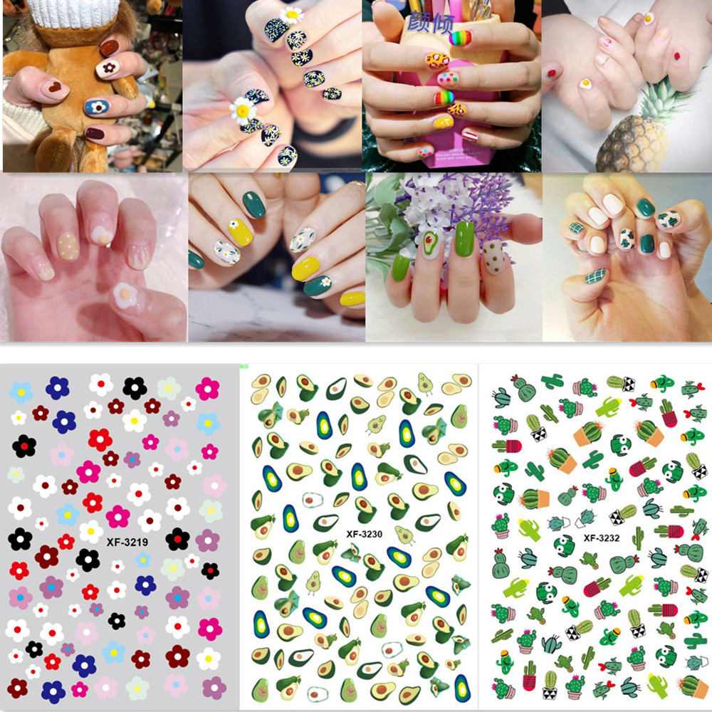 Little Red Book Celebrity Style Nail Sticker Avocado Fried Egg New Style Back Glue Weep Yafeng Manicure Stickers Nail Ornament