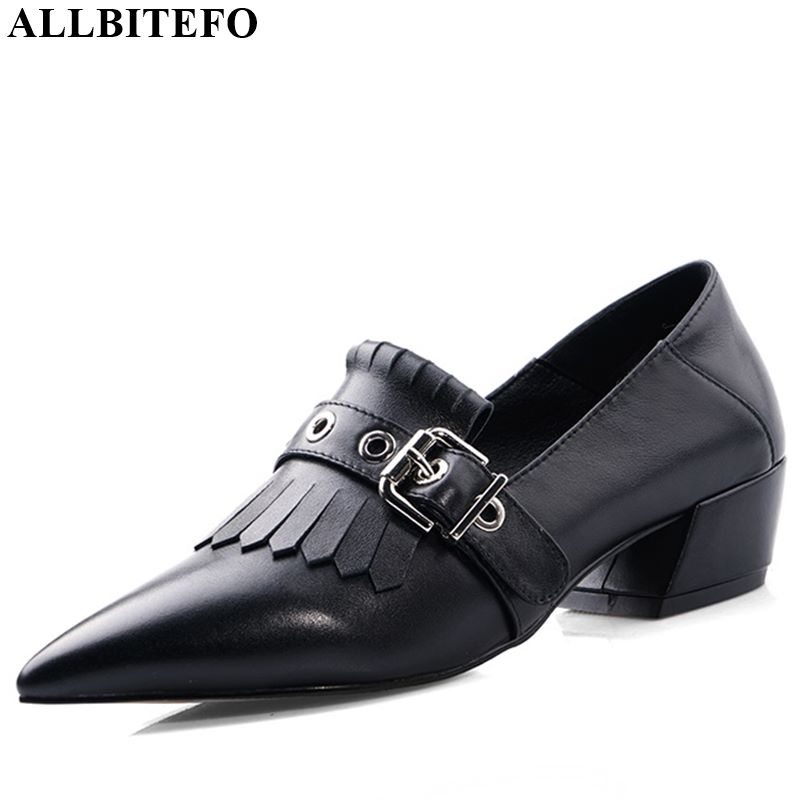 ALLBITEFO Real Genuine Leather Spring Autumn High Heel Shoes Belt Buckle Fashion Women Heels Office Ladies Shoes Pointed Toe