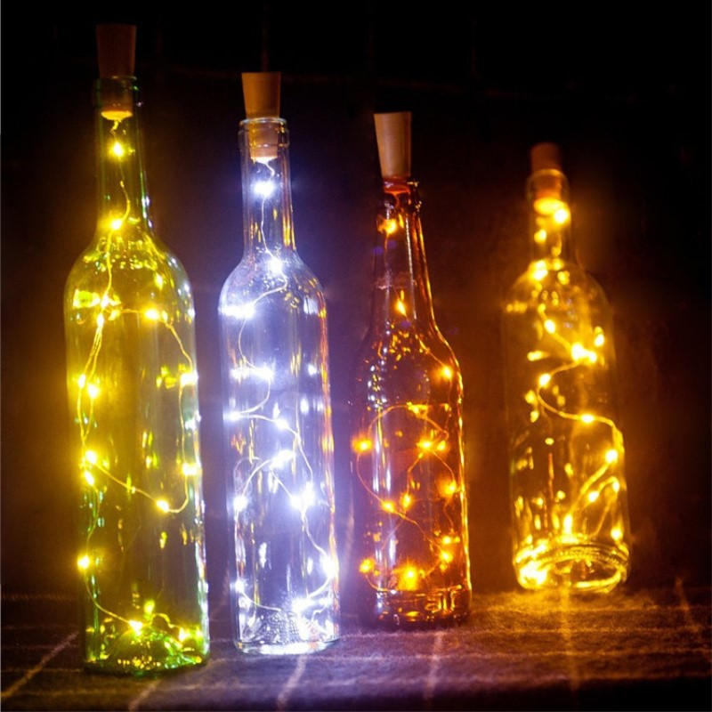 Wine Bottle Lights Battery Operated LED Cork Shape Silver Copper Wire Colorful Fairy Mini String Lights for DIY Christmas Decors