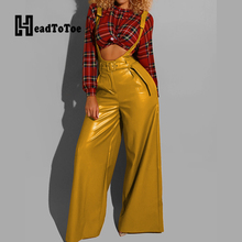 Women PU Belted Wide Leg Pants Fashion L