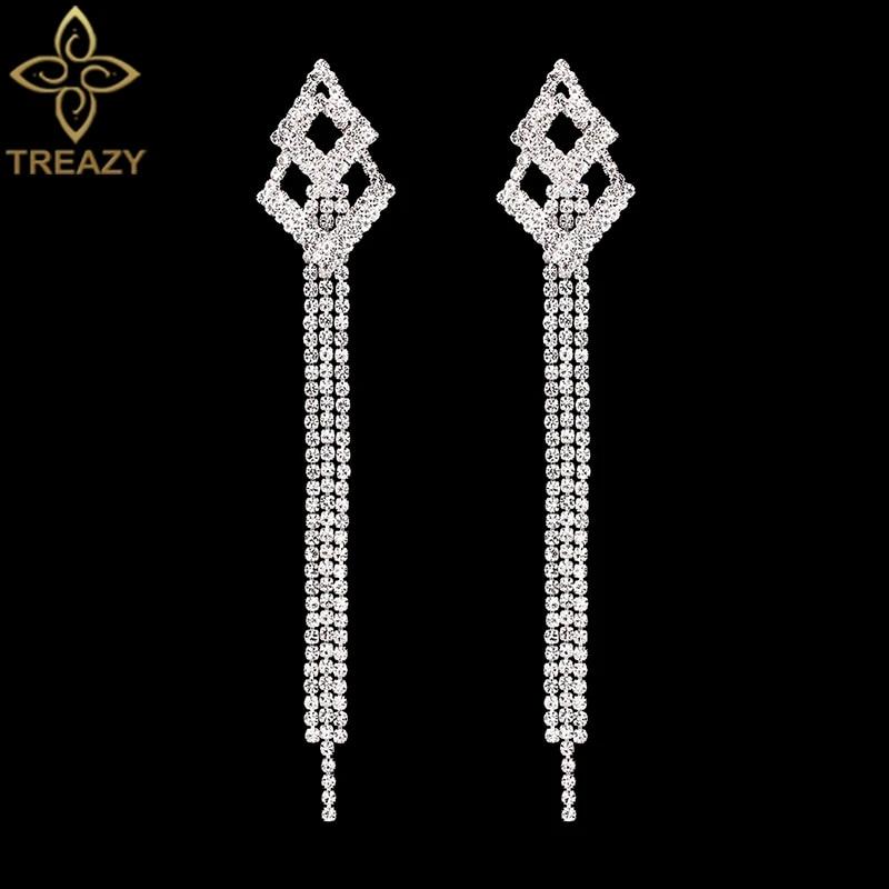 New Bridal Silver Diamante Crystal Rhinestone Long Dangle Earrings Wedding Prom