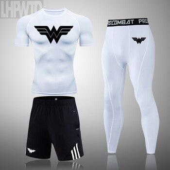Wonder Woman Men's full Suit Compression Sport Suit Gym joggers Running Short sleeve Shirts leggings Basketball sportwear 14