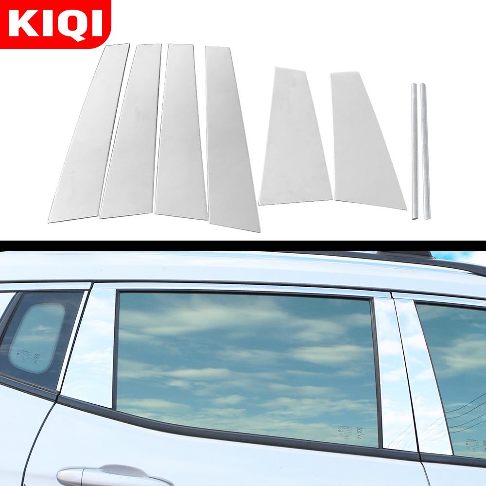 Style de voiture pour Jeep boussole 2017 2018 2019 bâton en acier inoxydable fenêtre en verre garniture pilier colonne moyenne garniture capot Sequin