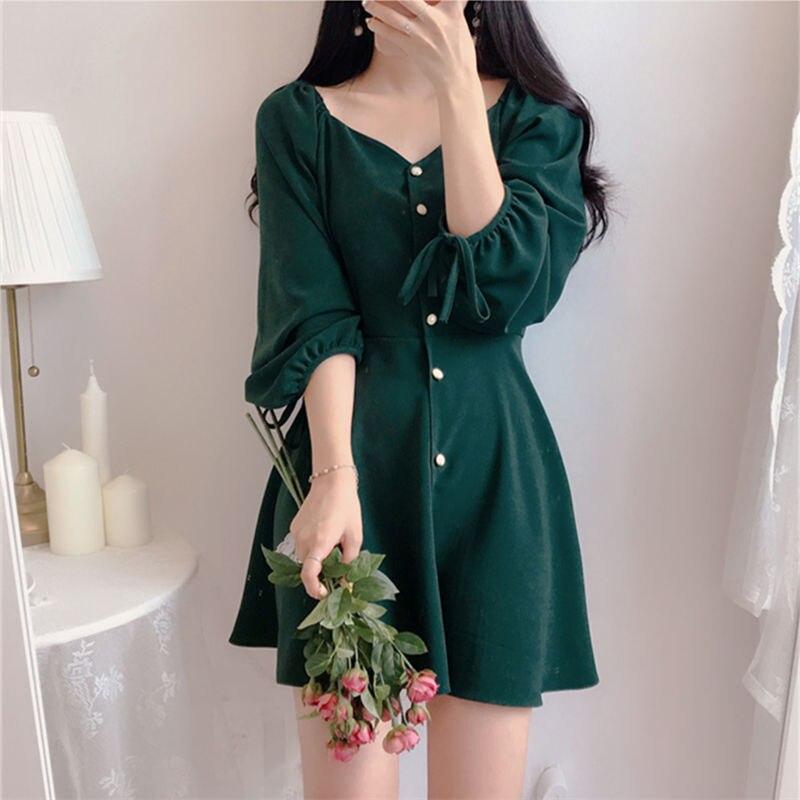 Image 3 - A Line Dresses Women Fashion Korea Japan Style Design Cute Sweet Little Back Dress Party Mini Button Vintage Dress Tunic 9310Dresses   -