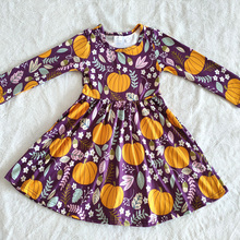 wholesale kids long sleeve dress girl halloween frocks cute