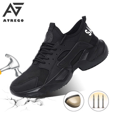 AtreGo Men Safety Shoes Steel Toe Cap Work Protective Trainers Anti-Smash Steel