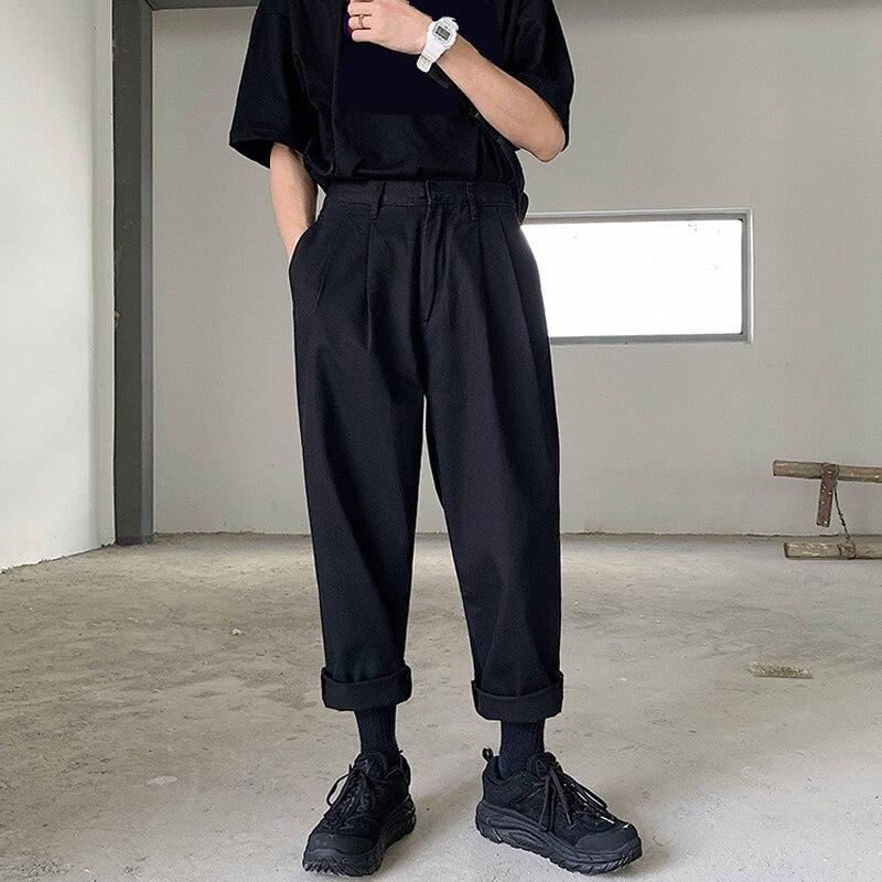 2020 Men's Simple Leisure Mens Cotton Harem Pants Loose Fashion Trend Black Color Casual Pants Male Trousers Plus Size M-XL