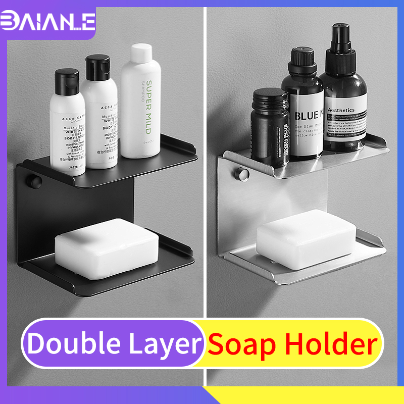 Soap Dish Black Stainless Steel Double Layer Kitchen Soap ...