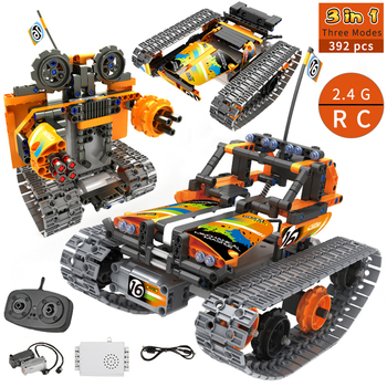 3 in 1 RC Stunt Car City Technic Building Blocks Toys Remote Control Car Robot Track STEM Bricks Educational Toys For Children
