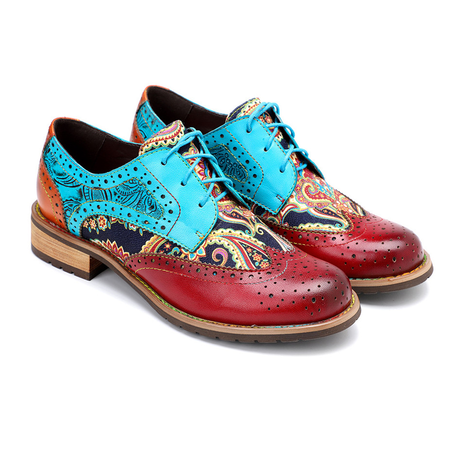 2020 New Spring Casual Women Brogues Shoes Handmade Genuine Leather Women Flats Oxfords Shoes Retro Carved Lace Up  Lady Oxfords (3)