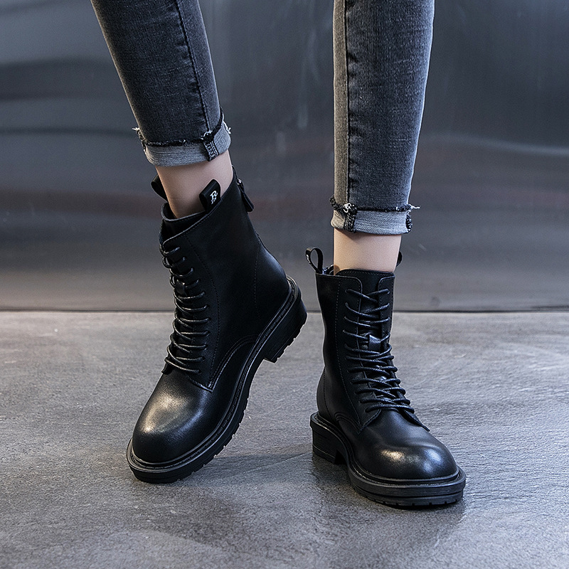 Ann Black And White With Pattern Martin Boots Women's 2019 Autumn And Winter New Products Online Celebrity Hot Selling British-S