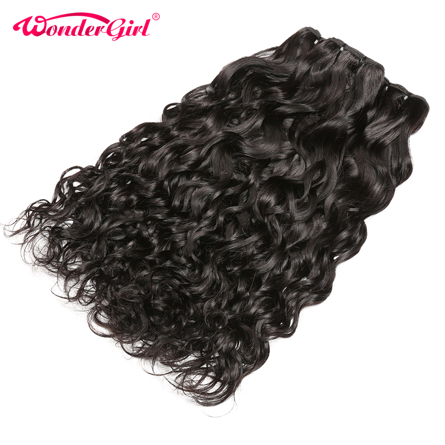 Remy Peruvian Hair Water Wave Bundles With Closure 100% Human Hair Bundles With Closure Wonder girl Hair Extensions