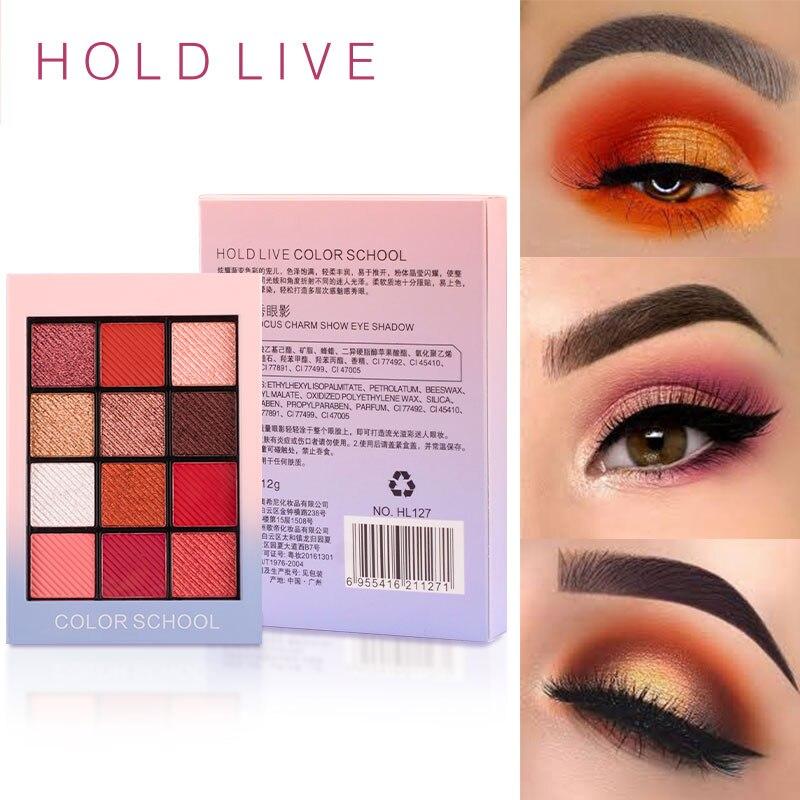 Hold Live 12 Color Color School Eyeshadow Palette Makeup Creamy Glitter Shine Eye Shadow Silky Powder Warm Smoky Nude Makeup