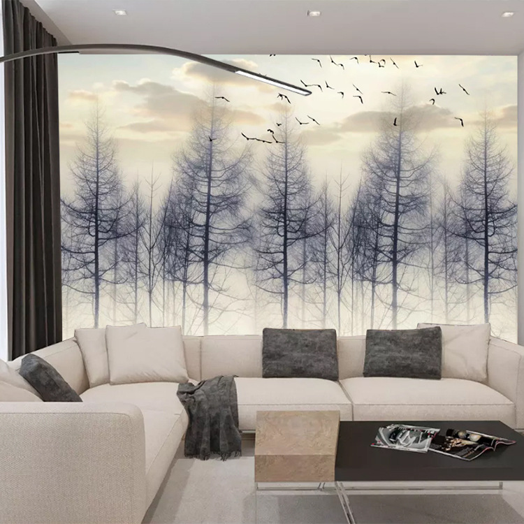 3D TV Backdrop Wallpaper Modern Minimalist Living Room Bedroom Restaurant Wallpaper Northern European-Style Hand-Painted Forest