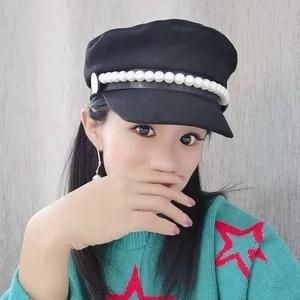 Image 3 - על אינטרנט סלבריטאים סגנון צמר חיל הים כובע פופולרי פרל קישוט אלגנטי אופנה כובע bowknot הוא אור קישוט Visors