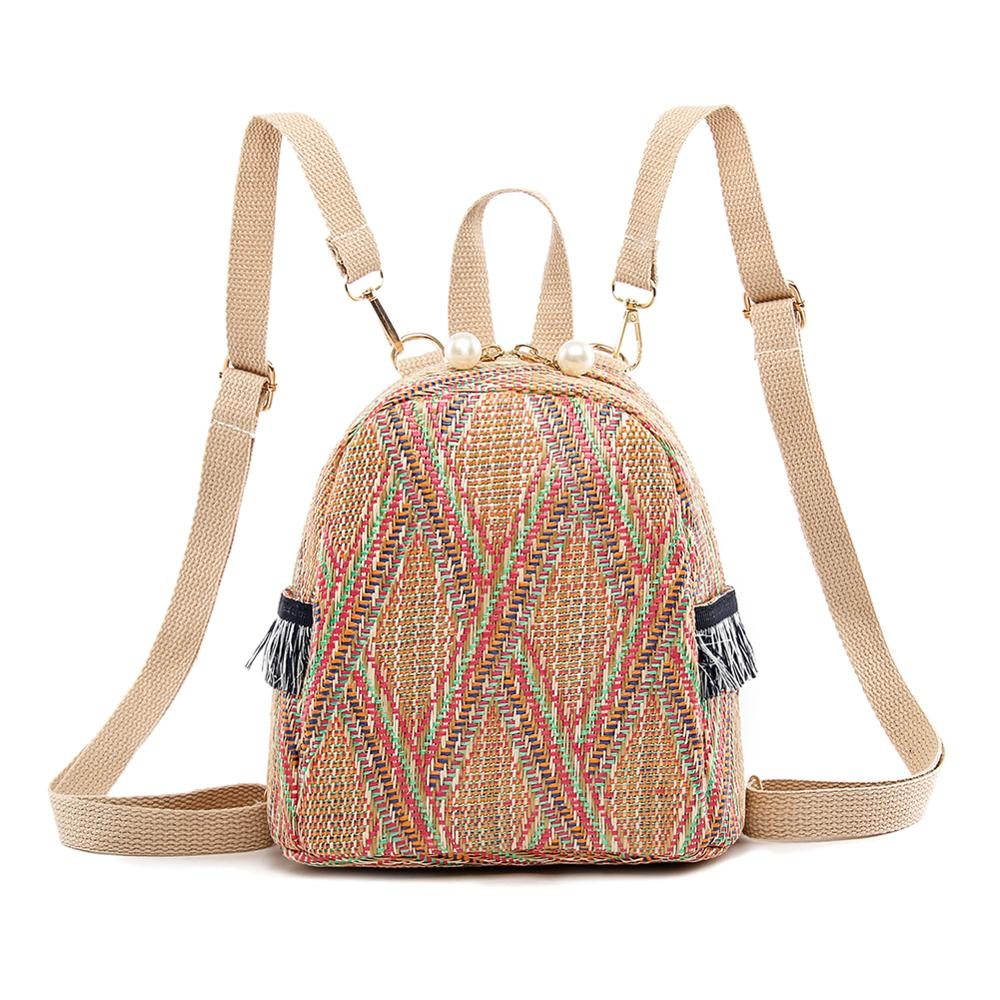 Straw Woven Bag Small Travel Backpacks Women Stripe Print Shoulder School Bags Casual Knitting Knapsack Rucksack Mochila Mujer