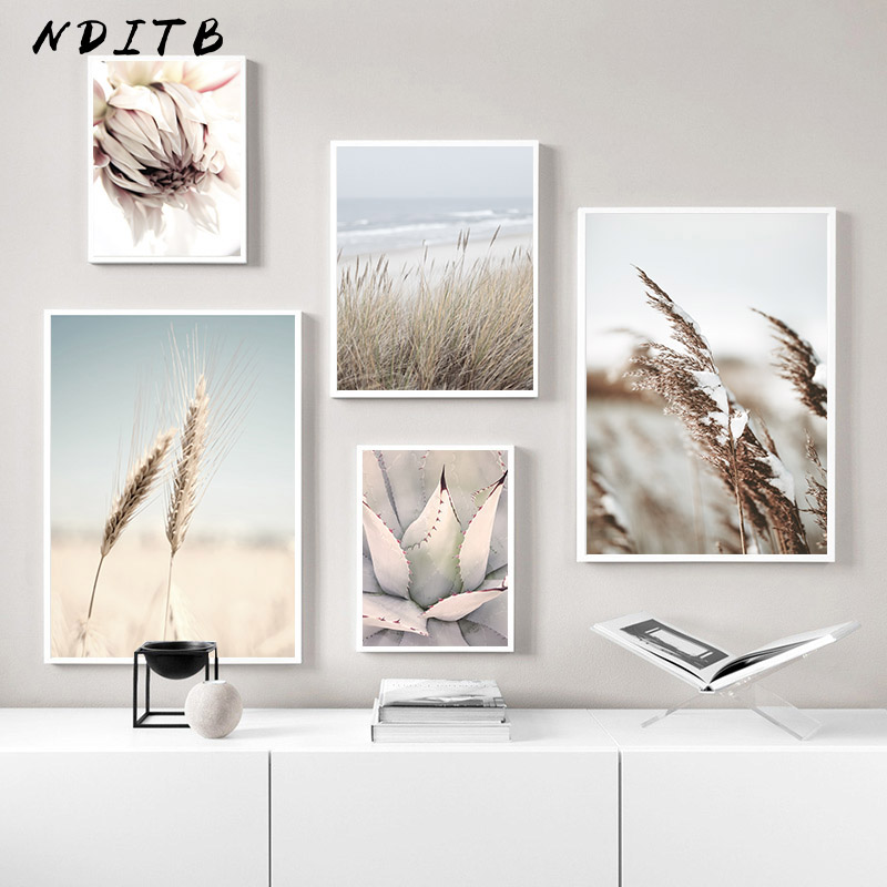>Reed Grass Sea Landscape Poster Scandinavian Canvas Print Nature Scenery Wall Art Picture Painting Nordic <font><b>Style</b></font> <font><b>Home</b></font> Room Decor