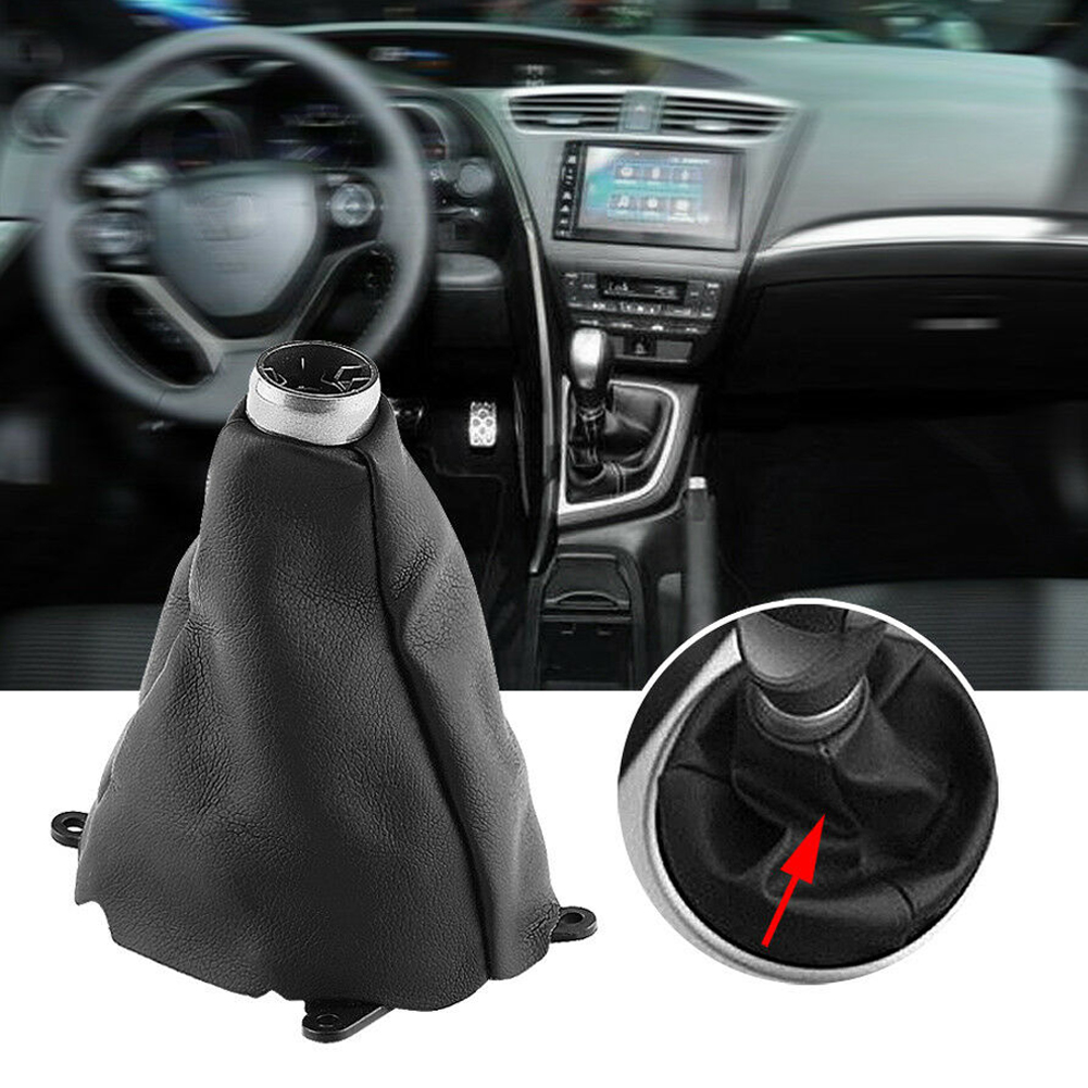 Car Gear Shift Boot Cover Leather Collars Gaiter Dust Cover For <font><b>Honda</b></font> <font><b>Civic</b></font> <font><b>2006</b></font> 2007 2008 2009 2010 2011 2012 Car <font><b>Accessories</b></font> image