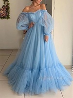 Pink blue mesh sweet birthday dress robe evening femme Women sexy off shoulder strapless long sleeve floor length dress frocks