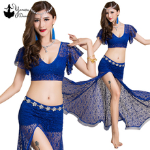 4 Colors Womens Sexy Bellydance Costume Adult Short Sleeve Stage Dance Performance Clothes Lace Dress High Quality 2020