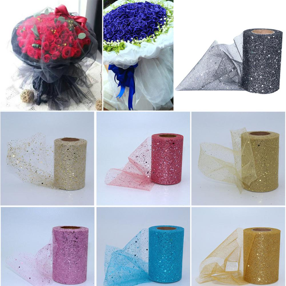 Fabric Mesh Yarn Sequin Net Fabric Tulle Spool Rolls Weddings Party Costume Decoration
