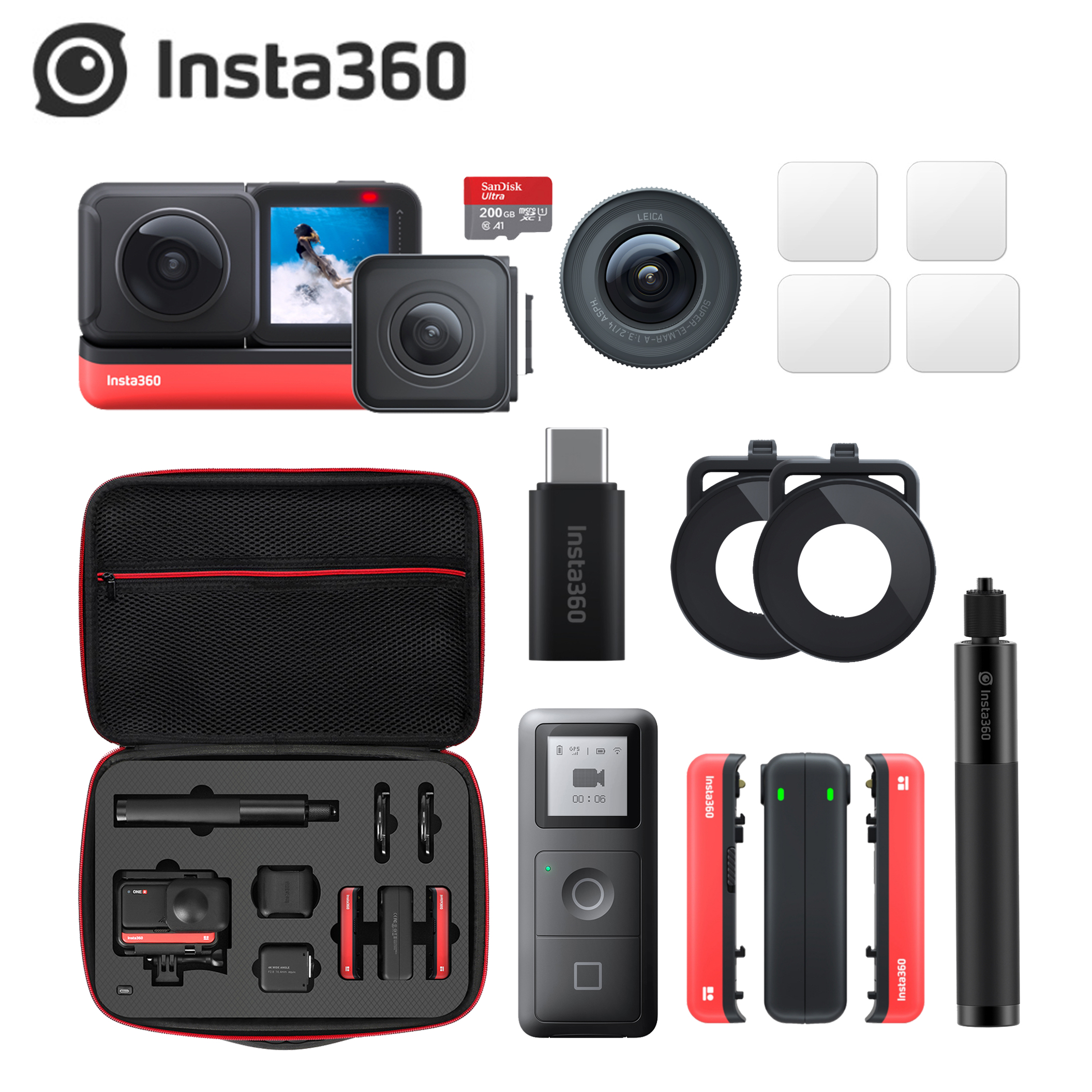 Insta360 Action-Camera Remote-Controller Sports 4K for iPhone/android-Case GPS Wide-Angle title=