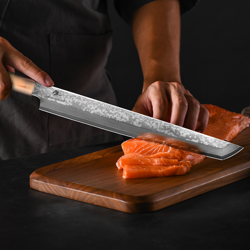 11 Inch Japanese Sashimi Knife 33 Layer Damascus Steel Chef Filleting Knives Cleaver Salmon Sushi Knife With Buffalo Horn Handle 2