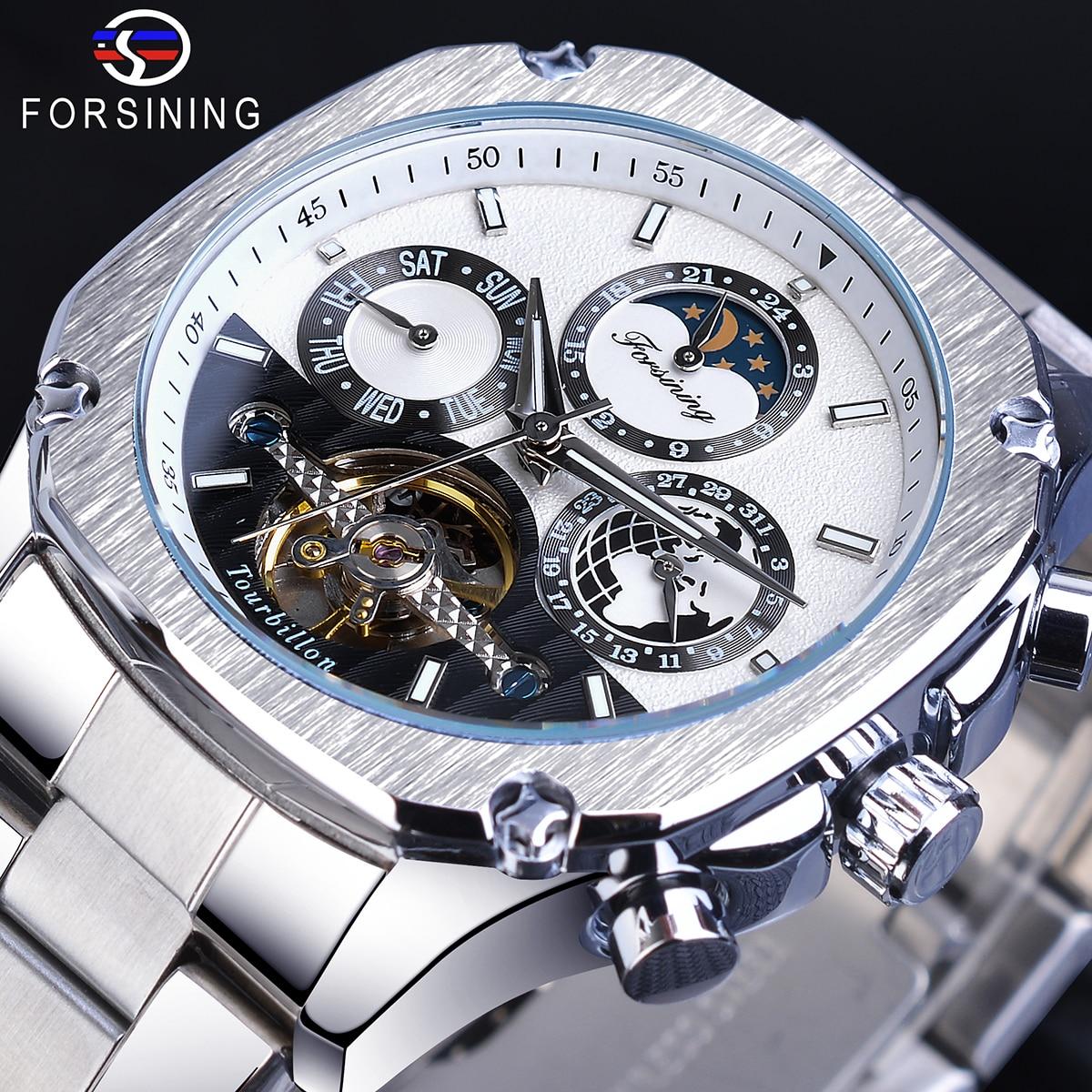 Forsining Square Men Mechanical Watches Tourbillon Moon Phase Calendar Automatic Business Dress Stainless Steel Belts Wristwatch