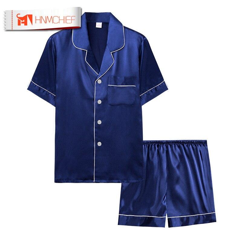 HNMCHIEF Sleepwear Men Pajama-Sets Suit Satin Silk Home-Service Summer