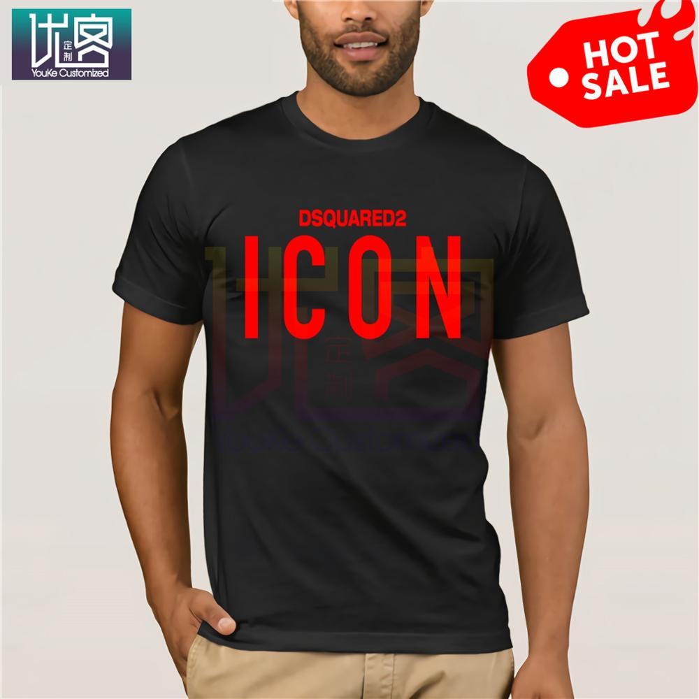 New Dsq2 Icon T-Shirt Short Sleeve Slim Fit Printed Icon Logo PrintedFashion Men Free Shipping Men's T-shirt Vintage Crew Neck