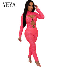 YEYA New Fashion Hollow Out Long Sleeve Pink Black Sexy Playsuits Elegant Vintage Printed Bodycon Jumpsuits Rompers