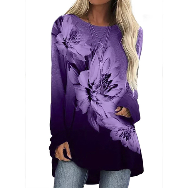Vintage Abstract Flowers Print Women Blouse  Casual O Neck Long Sleeve Pullover 1