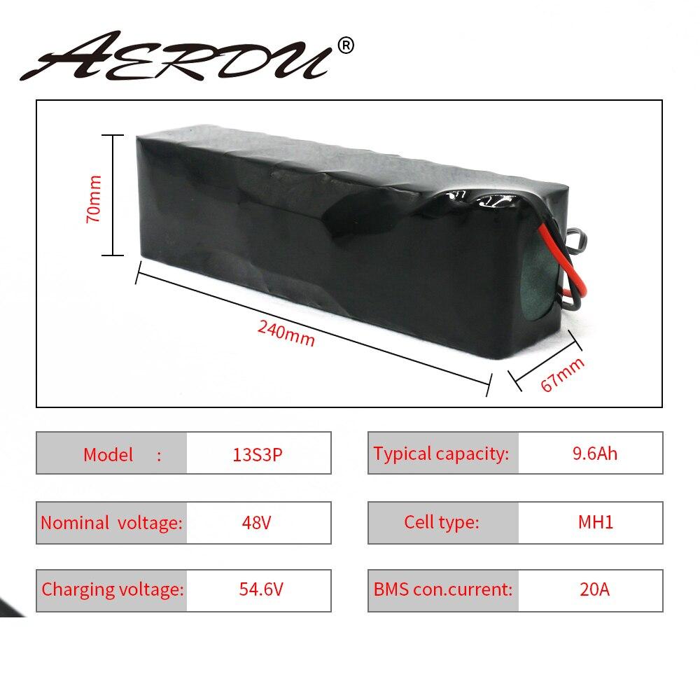 Aerdu 48v 13s3p 9.6ah 10ah 18650 750w 350w bateria de lítio-íon para lg mh1 células ebike scooter motor bicicleta com 20a bms