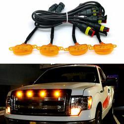 Krator 4PCS Amber Car Front Bumper Hood Grille LED Light Raptor Style LED Grill Lamps Bulbs 12V 24V Waterproof For SUV Pickup