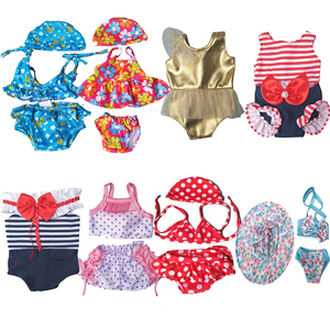 """summer set For 18"""" Girl Doll Bikini + Cap summer Swimming Suit With Hat also fit for 43cm Baby dolls clothes(China)"""