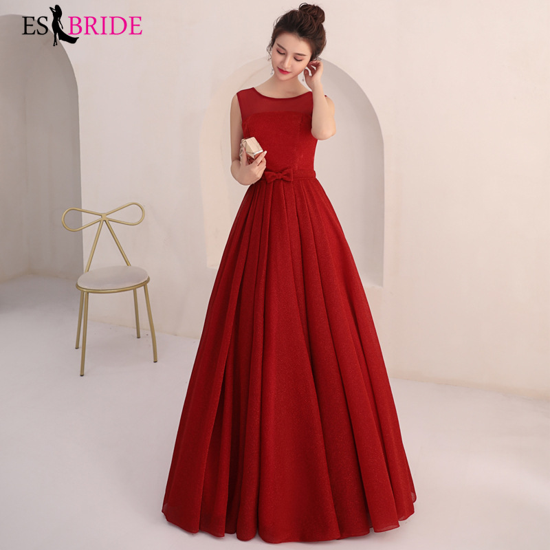 Elegant Red Evening Dresses Long  Sexy A-line  Sleeveless  Wedding Guest Gowns Long Formal Gowns