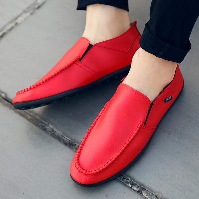 Summer Classic Loafers Men Shoes color: Black|Orange|Red
