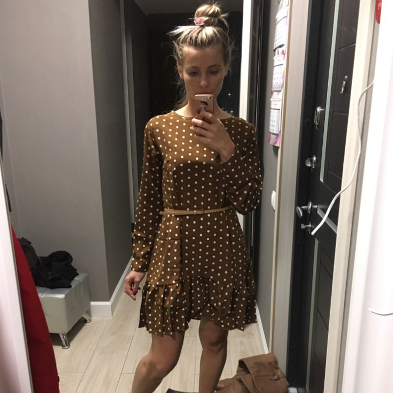 Women Autumn Dress Fashion Polka Dot Chiffon Dress Long Sleeve O Neck Ruffle Female Casual Yellow Dress 2020 Retro Vestido Mujer