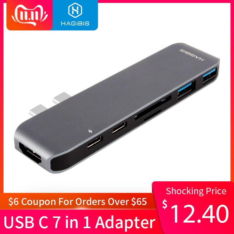 Hagibis 7-in-1 Dual USB-C HUB Type-C Hub Adapter USB-C To HDMI SD/TF Card Reader PD Charging 4K HD For MacBook Pro USB 3.0 HUB