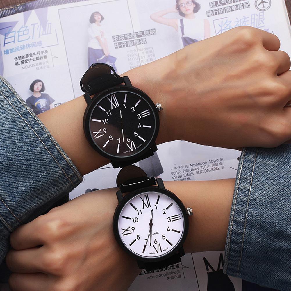 Fashion Men Women Dual Number Round Dial Couple Watch Men Casual Faux Leather Band Quartz Wrist Watch Women Couple Clock Parejas