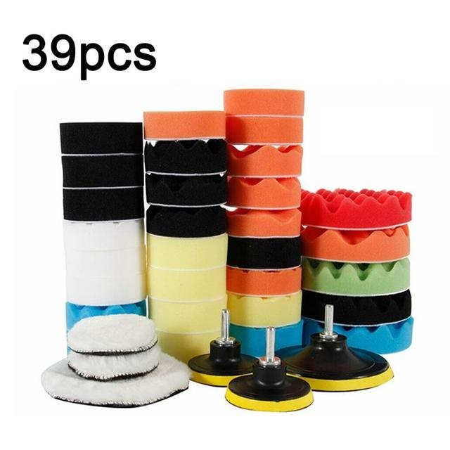 39Pcs Auto Polishing Pads Kit Buffing Pads Car Care Polisher Tool Waxing Polishing 2 in 1 Set