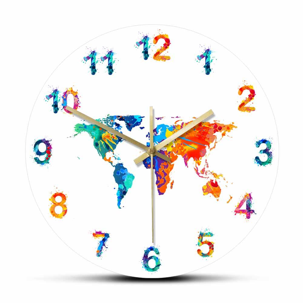 World Map Watercolor Decorative Silent Wall Clock Flat Earth Minimalist Print Digital Art Hanging Wall Watch Gift for Traveler