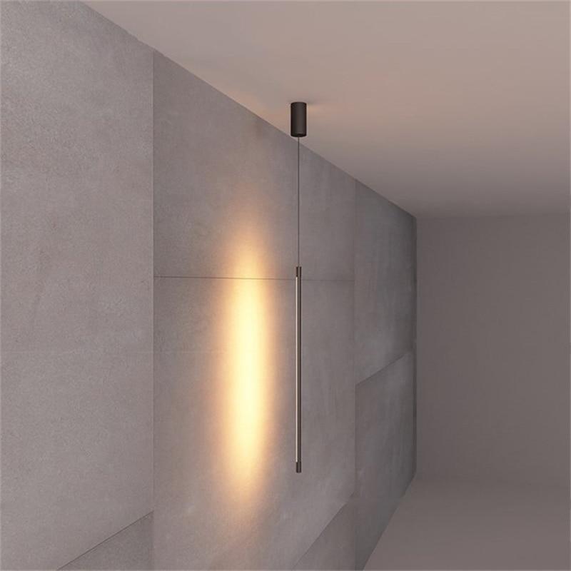 Minimalist Bedroom Bedside Pendant Light Modern Living Room TV Wall LED Pendant Lamp Geometry Line Strip Hanging Light Fixtures