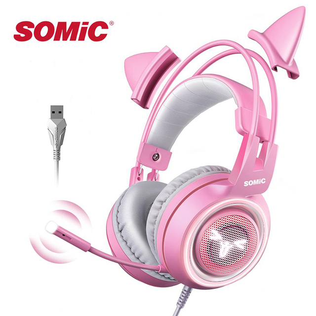 SOMIC Pink Gaming Headset 7.1 Surround-Sound G951 Cat Ear Stereo Noise Cancelling Head Phone Vibration LED USB Headsets for Girl 1