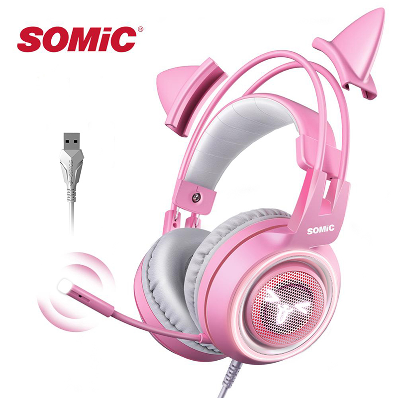 SOMIC Pink Gaming Headset 7 1 Surround-Sound G951 Cat Ear Stereo Noise Cancelling Head Phone Vibration LED USB Headsets for Girl