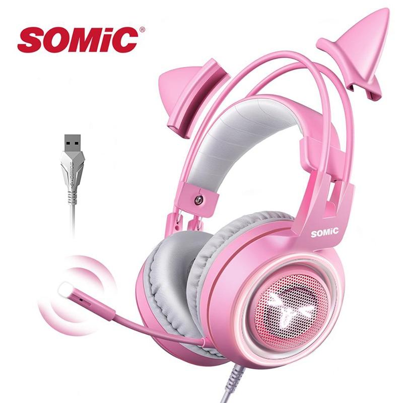 SOMIC розовый игровая гарнитура 7,1 объемный звук G951 кошачьими ушками стерео Шум шумоподавления головной телефон вибрации светодиодный USB гарн...