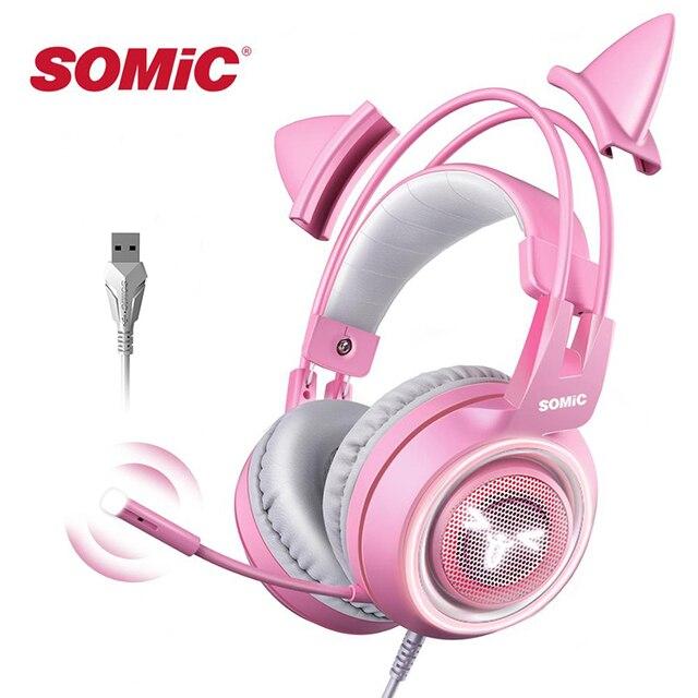 Somicピンクゲーミングヘッドセット7.1サラウンドサウンドG951猫耳ステレオノイズキャンセルヘッドフォン振動led usbヘッドセットのための