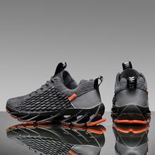 Męskie trampki Knife-Edge rybia łuska dzianinowe męskie buty lekkie wygodne sneakersy do chodzenia duże rozmiary 36-46 tanie tanio XUBAOTENG Mesh (air mesh) CN (pochodzenie) Lace-up Pasuje prawda na wymiar weź swój normalny rozmiar Podstawowe Wiosna jesień
