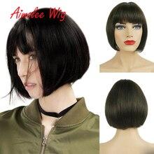 """"""" x 4"""" моно короткий прямой боб парик человеческих волос смесь синтетические парики для женщин натуральный цвет парики темно-коричневый парик волос с челкой"""